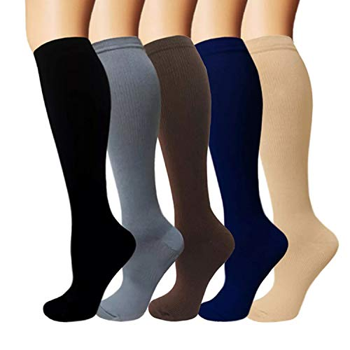 5 Pairs Knee High Graduated Compression Socks For Women and Men - Best Medical, Nursing, Travel & Flight Socks - Running & Fitness - 15-20mmHg (L/XL, Assorted 2)