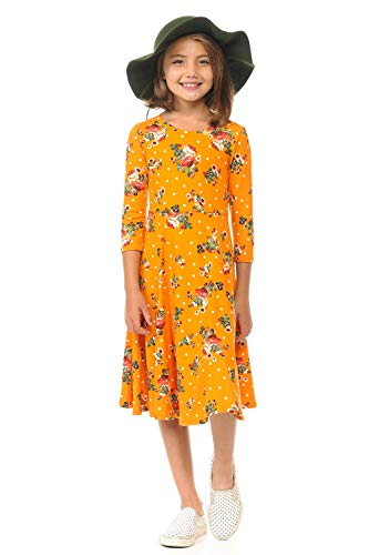 Honey Vanilla Girls' Princess Seam A-Line Dress with Full Skirt X-Large Floral Mustard Polka