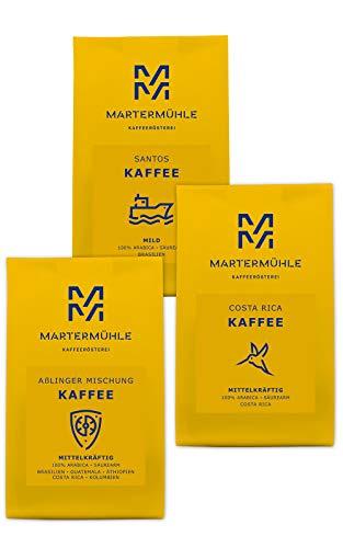 Martermühle | Kaffee Probierset | (3 x 250g) | Ganze Bohnen | Premium Kaffeebohnen aus aller Welt | Schonend geröstet | Kaffee säurearm | 100% Arabica