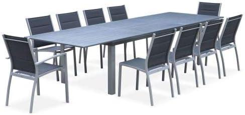Salon de Jardin Table Extensible - Odenton Gris - Grande ...
