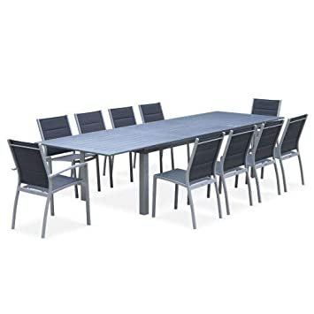 Salon de Jardin Table Extensible - Odenton Gris - Grande Table en ...