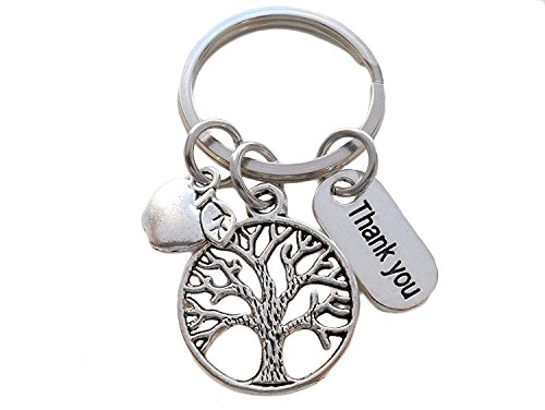 Small Tree Keychain Appreciation Gift, Thank You Charm with Apple Charm Keychain - Thanks for Helping Me Grow