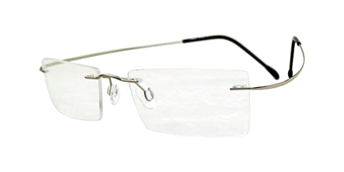 efa13d1184 Image Unavailable. Image not available for. Color  100% TITANIUM Eyeglass  Frames Silver Rimless Glasses ...