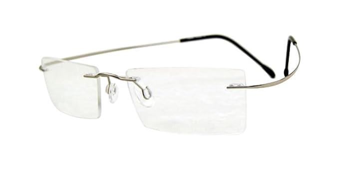 Amazon.com: 100% TITANIUM Eyeglass Frames Silver Rimless Glasses ...