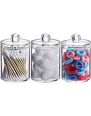 Cotton Swab Holder, Qtip Jar, Cotton Pad/Ball Dispenser Bathroom Containers 3 Pack