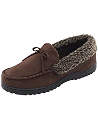 HomeIdeas Men's Faux Fur Lined Suede House Slippers, Cozy Indoor/Outdoor Moccasin Shoes with Arch Support