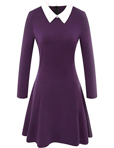 Aphratti Women's Long Sleeve Casual Peter Pan Collar Flare Dress Purple -