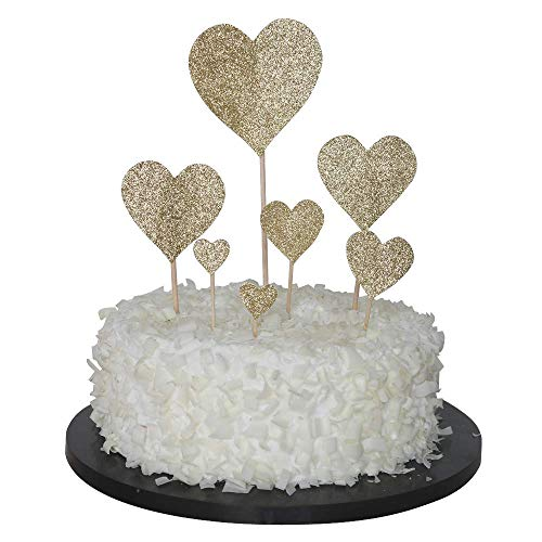 14PCS Heart Cupcake Toppers Twinkle Gold Snacks Decor DIY Mini Glitter Birthday Cake Decoration Picks Wedding Bridal Baby Shower Party Suplliers