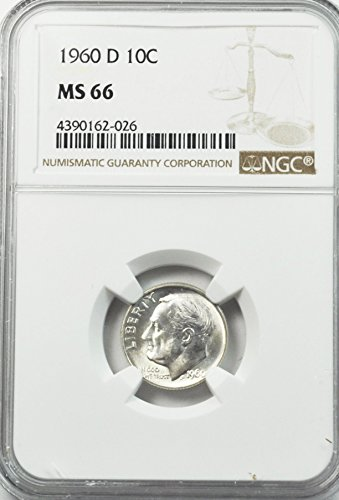 1960 D Roosevelt Dime 90% Silver 10c MS66 NGC