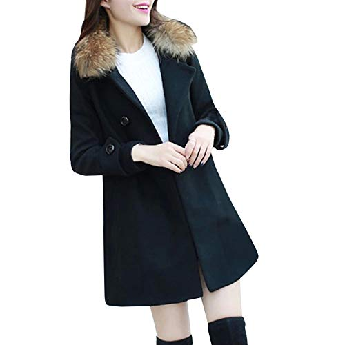 Fur Collar Casual Outwear Womens Warm Jacket Parka Cardigan Slim Coat Overcoat Black