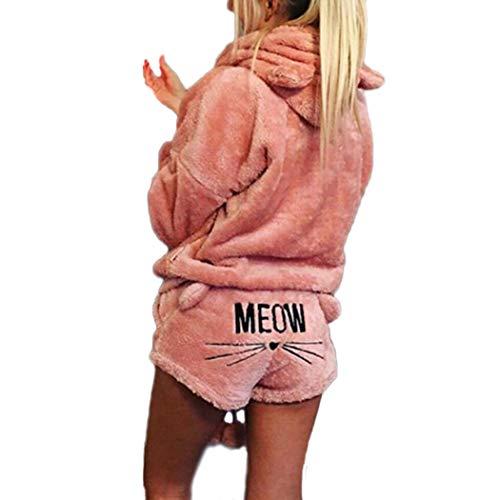 Raylans Women's Cute Plush Sleepwear Fleece Cat Embroidered Pajamas Hoodie Meow Shorts Set