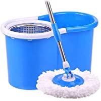 Flexy Easy Wring Magic Cleaning 360 spin stainless basket Mop Set - Blue