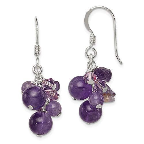925 Sterling Silver Purple Amethyst Bead/lavender Crystal Quartz Drop Dangle Chandelier Earrings Fine Jewelry Gifts For Women For Her ()