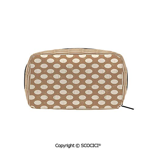 Travel Cosmetic Bag Portable Makeup Pouch Big Polka Dots on Grunge Backdrop Off White Shabby Simple Old Fashioned Distressed Retro makeup clutch for Girls Ladies Women