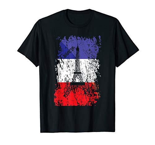 France Bastille Day Eiffel Tower Paris Vintage Flag Gift T-Shirt