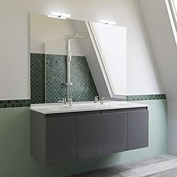 Meuble salle de bain double vasque PROLINE 140 - Gris brillant ...
