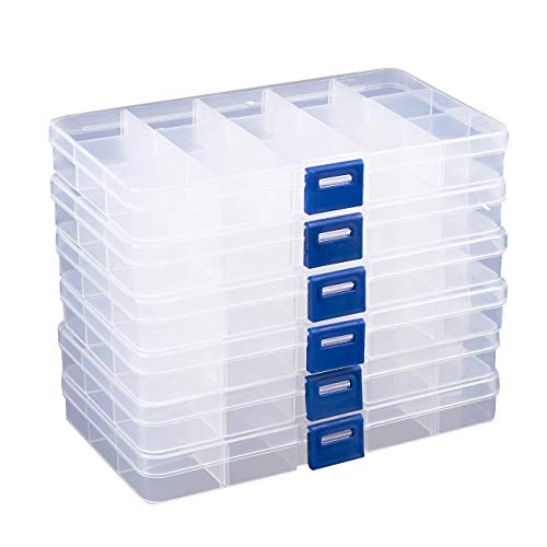 Clear Jewelry Box - 6-Pack Plastic Bead Storage Container, Earrings Storage Organizer with Adjustable Dividers, 15 Compartments Each, 6.7 x 0.8 x 4 -