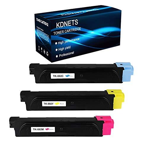 KDNETS 3-Pack Compatible Toner Cartridge for Kyocera TK-592C TK-592M TK-592Y Printer Toner Cartridge Replacement,use with Kyocera ECOSYS M6526cdn Printer Cartridge (Cyan, Magenta, Yellow)