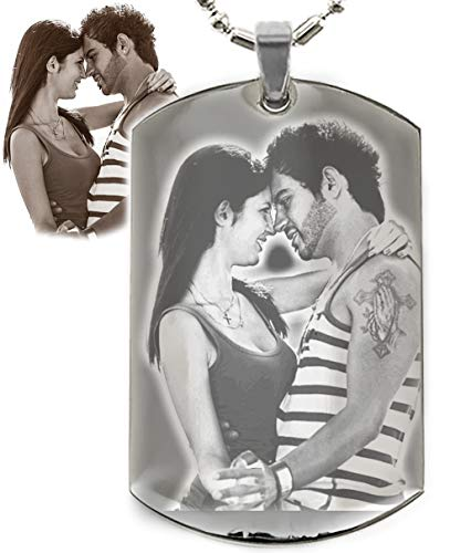 (Engrave Your Own Memory on Dogtags dog tag Personalized Photo Text Custom Engraved Your Picture Text Necklace Pendant + Free Engraving Christmas Gift Rhodium Plated High Quality Dogtags || Great Gift Ideas)