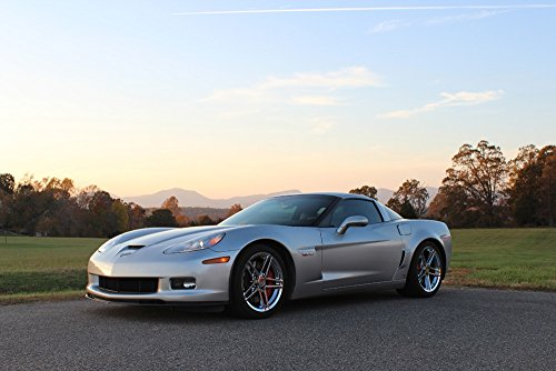 Slv Art C Wall - Poster of Chevy Corvette Silver C6 LS7 Z06 Left Front HD 54 X 36 Inch Print
