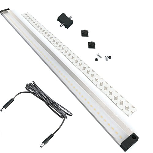 EShine Extra Long 20 inch LED Under Cabinet Lighting Bar Panel - NO IR Sensor - with Accessories (No Power Supply Included), Warm White (3000K) ()