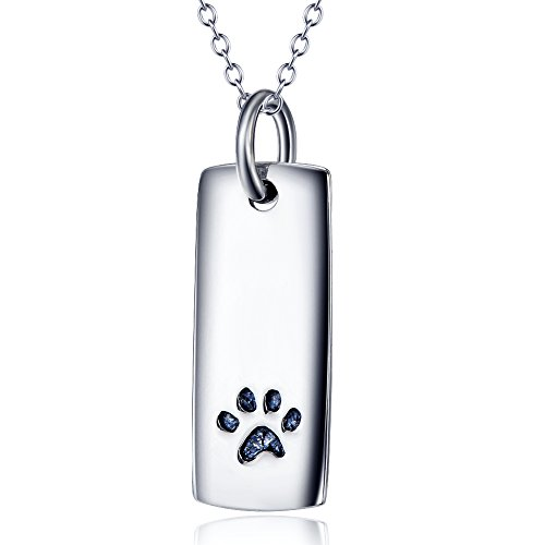925 Sterling Silver Rectangle with Puppy Paw Forever Love Heart Pendant Necklace, 18