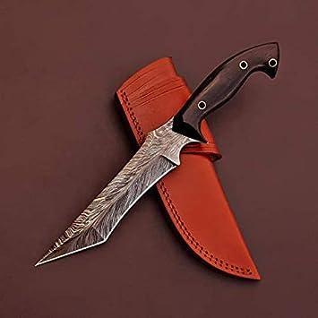 Amazon.com: Damasco - Cuchillo de caza de acero hecho a mano ...