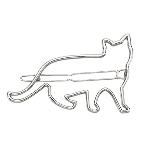 - Botrong Hair Clip for Women, Cute Cat Clips Girls Hair Buckle Hairpin Headdress (Silver)