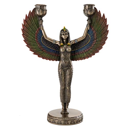 Top Collection Egyptian Isis Candelabra Statue- Goddess of Magic Sculpture in Cold Cast Bronze- 12.5-Inch Mother of Horus Figurine ()