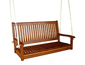 "International Caravan Royal Tahiti 48"" Straight Back Two Seated Swing in Brown Stain"