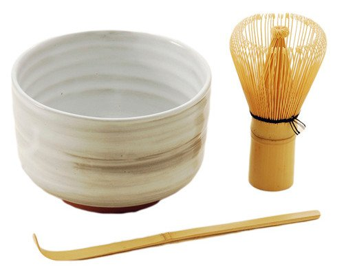 Japanese Traditional Green Tea Bamboo Matcha Whisk Scoop and Bowl 3 Piece Gift Set Starter Kit (White Bowl)