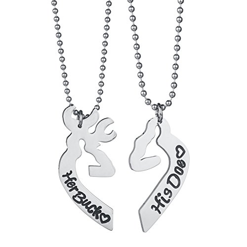 DALARAN Her Buck His Doe Engraved Stainless Steel Couple Necklace Deer Pendants Heart Split for Men Women (His Her Doe)