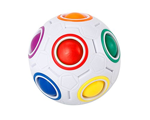 (themagicswizz Brand Amazing Toy Cube Puzzle Twist Toy Magic Creative Ball Shaped Rainbow and White Spherical)