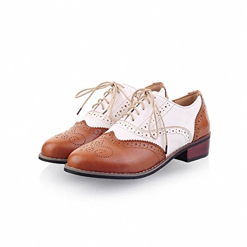 Brogues Lace Wingtip Oxfords Flat Perforated Brown Oxford Hecater Vintage Shoes amp;white up Women's ERxqv