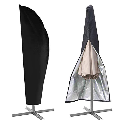 (IC ICLOVER Umbrella Cover, Patio Parasol Cantilever Offset Umbrella Protective Storage Cover Outdoor Durable Waterproof Dustproof with Zipper Fits 9ft to 13ft,Black)