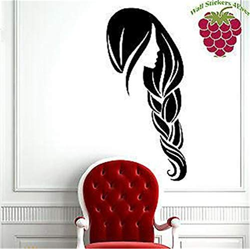 Family-decal Wall Stickers Art Decor Decals Beautiful Lady Long Braided Hair Beauty Salon