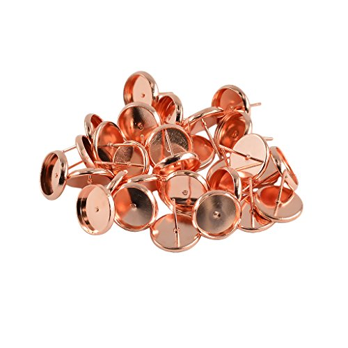 Dovewill 24 Pieces Vintage 10mm Round Earrings Blank Ear Post Cabochon Setting Ear Studs - Rose Gold