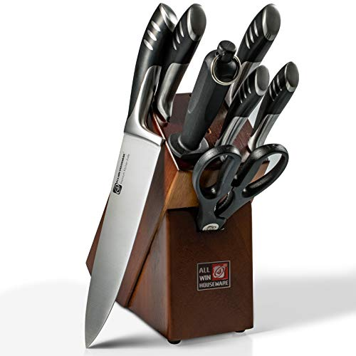 Premium 8-Piece German High Carbon Stainless Steel Kitchen Knives Set with Rubber Wood Block, Professional Double Forged Full Tang Chef Knife Set