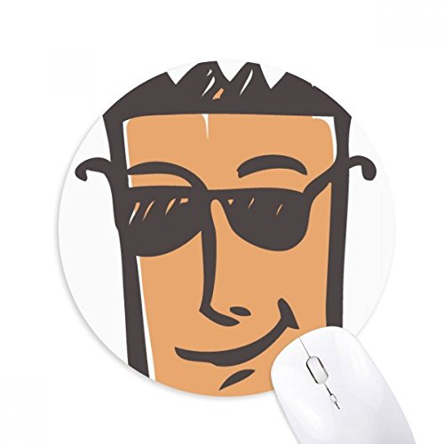 Sunglass Abstract Face Sketch Emoji Round Non-Slip Rubber Mousepad Game Office Mouse Pad - Sketch Sunglasses