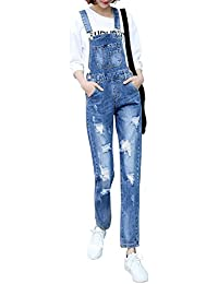 Women's Adjustable Strap Ripped Distressed Original Denim Overalls