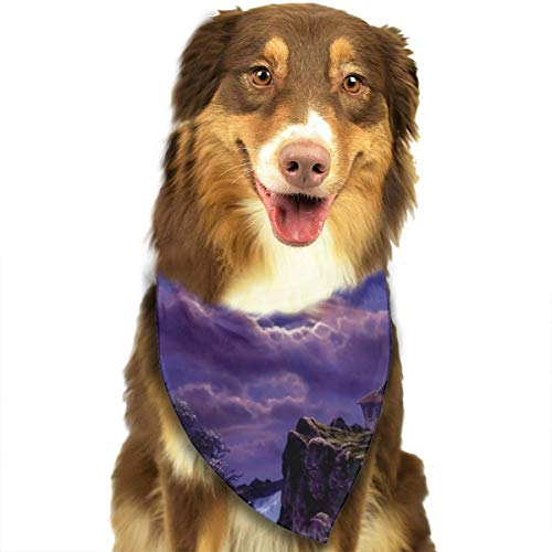 Pet Scarf Dog Bandana Bibs Triangle Head Scarfs Romantic Night Moon Accessories for Cats Baby Puppy]()