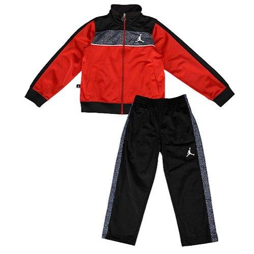 NIKE Jordan Air Little Boys' Elephant Print Tricot Tracksuit Jacket & Pants Set (Black/Grey, 2T)