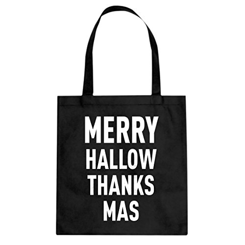 Tote Merry Hallow Thanks Mas Large Black Canvas -