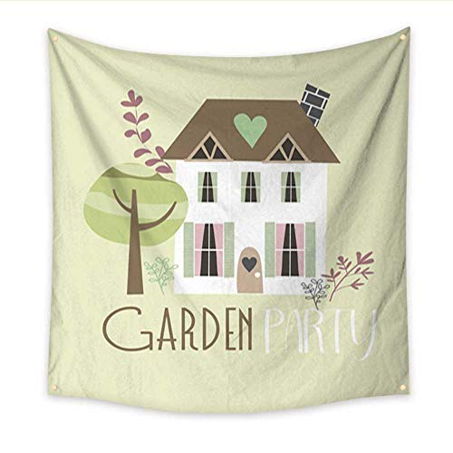 Flower Tapestry Garden Party Invitation Card Bedroom Living Room Dorm 47W x 47L Inch ()