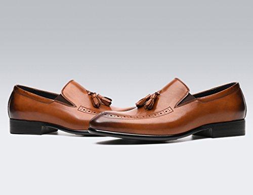 Herren Lederschuhe Frühling Herren Lederschuhe Freizeit Geschäft formelle tragen wies britischen Stil Quaste junge Hochzeit Schuhe Flut Herrenschuhe ( Farbe : Yellow-brown , größe : EU40/UK6.5 ) Yellow-brown