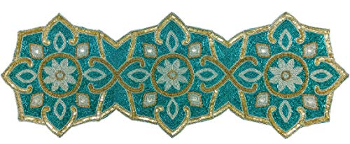 Linen Clubs Hand Made Beaded Table Runner 13x36 Inch in Teal Gold Silver Combo Colors,Produced by Skilled Village Artisans in India - A Beautiful Complements to Dinner Table Decor Offered