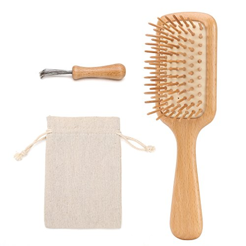 Chosin Hair Brush - Natural Wooden Paddle HairBrush - Women and Men – Small Detangling Brush - Set for Thick, Thin, Fine, Straight, Curly, Wavy, Short, Dry, or Damaged Hair (Silicon Hair Brush Cushion)