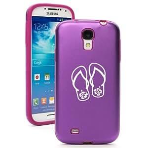 Purple Samsung Galaxy S4 S IV i9500 Aluminum & Silicone Hard Back Case Cover KA324 Flip Flops Hibiscus
