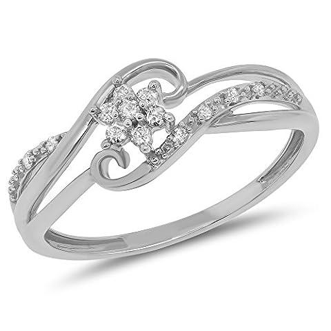 0.11 Carat (ctw) 10k Gold Round Diamond Bridal Split Shank Snowflake Cluster Flower Promise Ring 1/10 CT - White-gold, Size - Cut Halo Petite Diamond