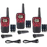 Midland - X-TALKER T31VP, 22 Channel FRS Walkie Talkie - Up to 26 Mile Range Two-Way Radio, 38 Privacy Codes, & NOAA Weather Alert (3 Pack) (Black/Red)